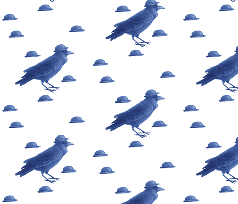 crow w bowler hat (blue) fabric by golders on Spoonflower - custom fabric