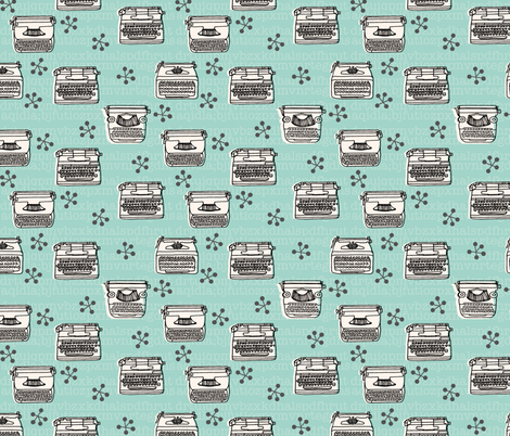 Typewriter // mint hand-drawn illustration vintage  fabric by andrea_lauren on Spoonflower - custom fabric