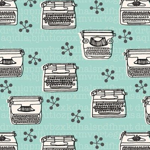 Typewriter // mint hand-drawn illustration vintage