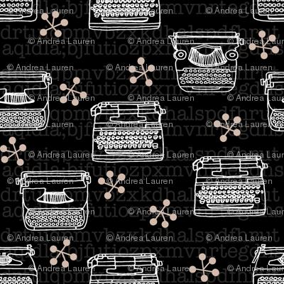 Typewriter // black and white hand-drawn illustration vintage