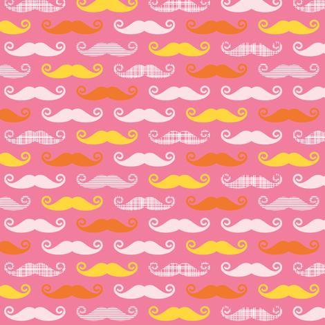 pink orange stache fabric by whimsiekim on Spoonflower - custom fabric