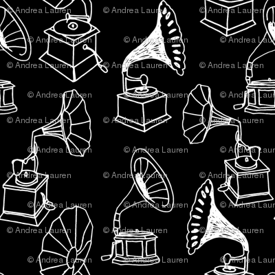 Phonograph // black and white hand-drawn record player vintage