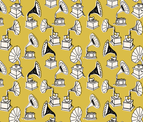 Phonograph // mustard yellow hand-drawn vintage illustration fabric by andrea_lauren on Spoonflower - custom fabric