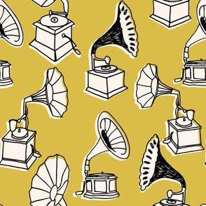 Phonograph // mustard yellow hand-drawn vintage illustration