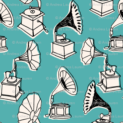 Phonograph // turquoise vintage hand-drawn vinyl record player