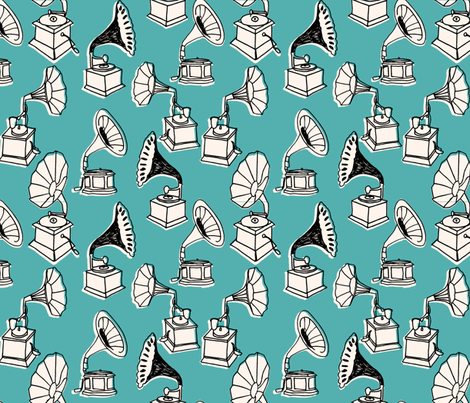 Phonograph // turquoise vintage hand-drawn vinyl record player fabric by andrea_lauren on Spoonflower - custom fabric