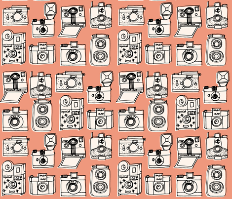 Vintage Cameras // blush peach rose coral kids nursery girls vintage shabby chic fabric by andrea_lauren on Spoonflower - custom fabric