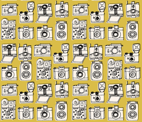 Vintage Cameras - Mustard fabric by andrea_lauren on Spoonflower - custom fabric