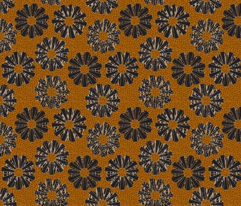 art deco floral on shagreen 4 color-gilded fabric by glimmericks on Spoonflower - custom fabric