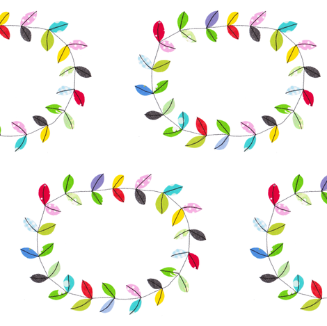Happy wreath fabric by syko on Spoonflower - custom fabric