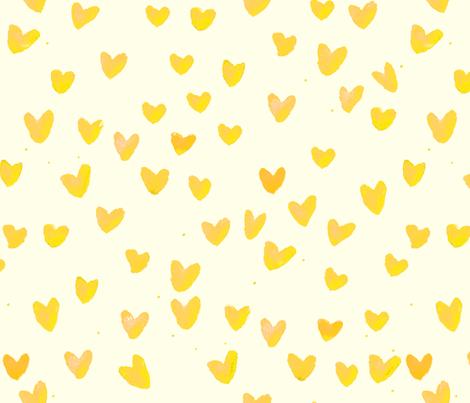 cestlaviv_Yellow Hearts Cream fabric by cest_la_viv on Spoonflower - custom fabric