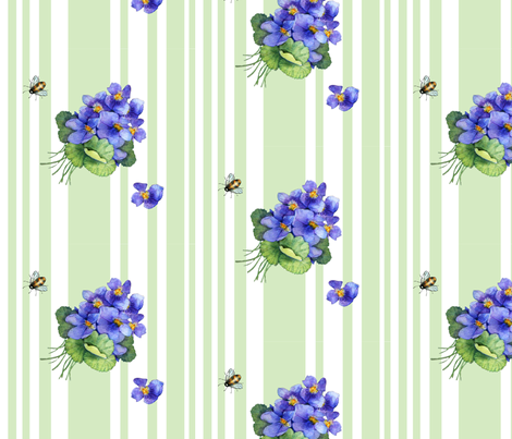 violets variation on green fabric by golders on Spoonflower - custom fabric