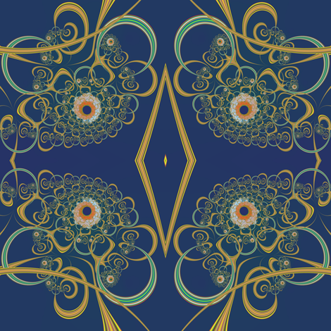 Gold Colored and Blue Mum fabric by eclectic_house on Spoonflower - custom fabric