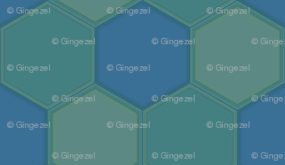 Blue Green Hexagon Ponds © Gingezel™ 2010