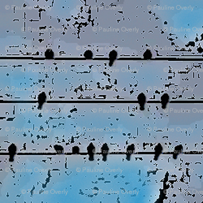 Birds On a Wire - Blue Black Fade