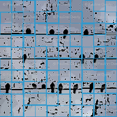 Birds On a Wire - Blue Black Tiles