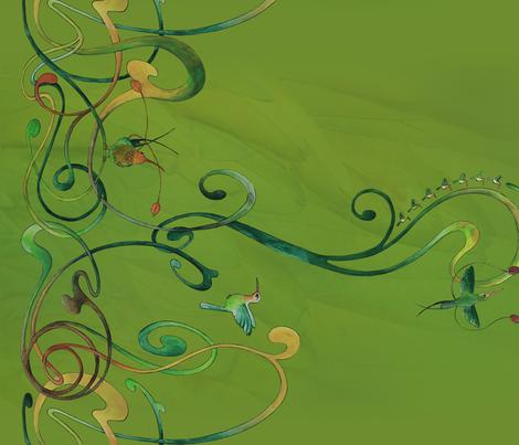 Art Nouveau hummingbird fabric by jeanne-design-illustration on Spoonflower - custom fabric