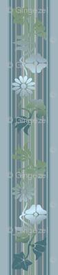 Blue Green Floral Stripe © Gingezel 2012