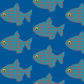 Fish a float Blue-red diamond fish a float