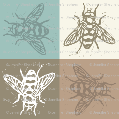 Busy Bee Gingham - Aqua and Clay - Dark Taupe Bees