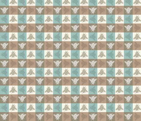Busy Bee Gingham - Aqua and Clay - Dark Taupe Bees fabric by jenithea on Spoonflower - custom fabric