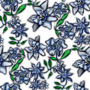 Gardenia Fabric on White