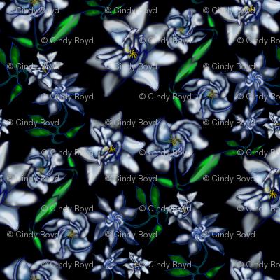 Gardenia on Black Fabric