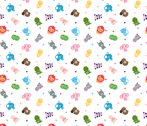 Scattered cute creatures fabric by indescribble on Spoonflower - custom fabric