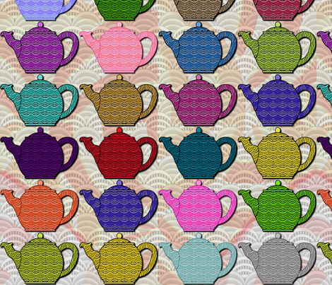 A Deco-rated Teapot Party - large fabric by glimmericks on Spoonflower - custom fabric
