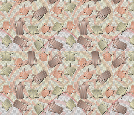 deco-dent teapot party fabric by glimmericks on Spoonflower - custom fabric