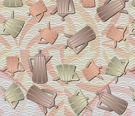 A Deco-dent Teapot Party fabric by glimmericks on Spoonflower - custom fabric