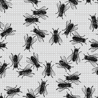 black flies on light dotted background.