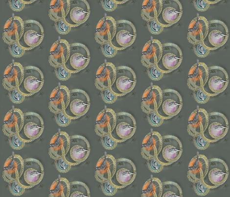 Bird Trio on Green Background fabric by supermoxie on Spoonflower - custom fabric