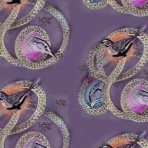 Bird Trio on Purple Background