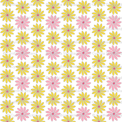 Yellow and Pink Ditsy Wildflowers