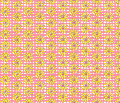 Pink Plaid with Summery Florals fabric by cksstudio80 on Spoonflower - custom fabric