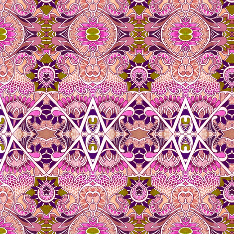 Trippy Hippie Pink Dragon Scale Psychedelia fabric by edsel2084 on Spoonflower - custom fabric