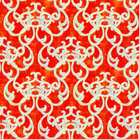 Damask Tangerine fabric by joanmclemore on Spoonflower - custom fabric