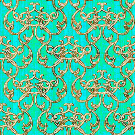 Damask Lagoon Green fabric by joanmclemore on Spoonflower - custom fabric