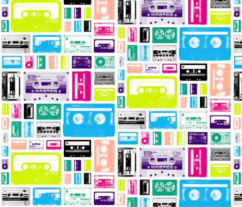 Mix Tapes (80s) || retro 70s 80s cassette music rock and roll collage vintage analog college dorm room hip hipster fabric by pennycandy on Spoonflower - custom fabric