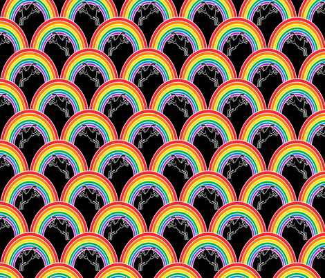 Prance little Pony on black fabric by glanoramay on Spoonflower - custom fabric