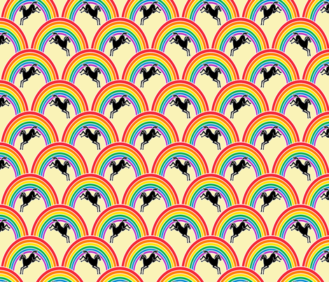Prance little Pony on yellow fabric by glanoramay on Spoonflower - custom fabric