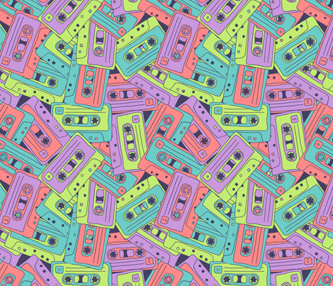 Tape Song: 80s Mix fabric by leighr on Spoonflower - custom fabric