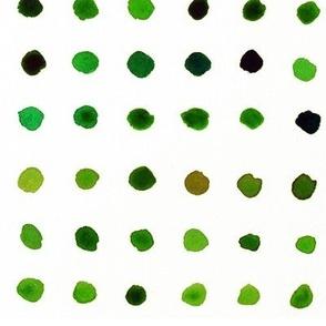 Watercolour Dots in Green