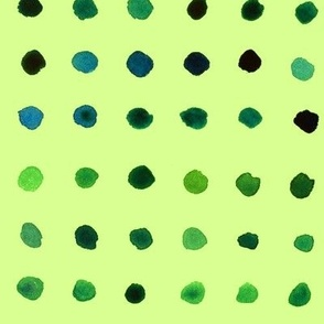 Watercolour Dots, Blue on Green