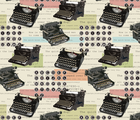 Typewriter fabric by littlerhodydesign on Spoonflower - custom fabric