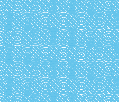 Wave swirls - light blue  fabric by shelleymade on Spoonflower - custom fabric