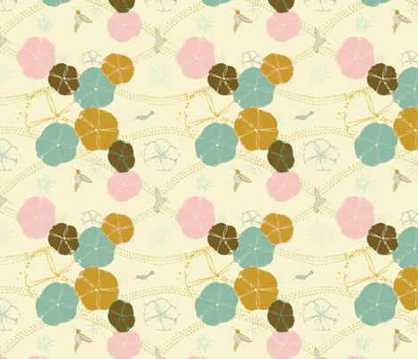 Hummingbird Glory Vintage fabric by femiford on Spoonflower - custom fabric