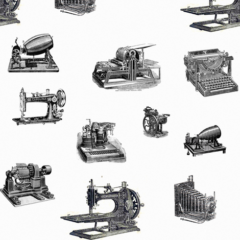 vintage technology fabric by ravynka on Spoonflower - custom fabric