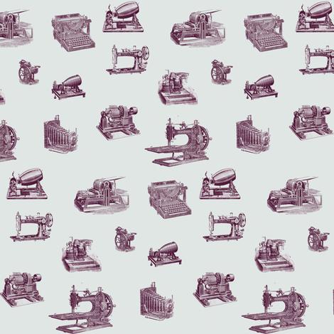 vintage technology purple fabric by ravynka on Spoonflower - custom fabric